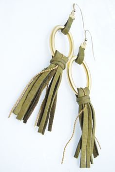 Leather Jewelry Fringes Long Earrings in Olive Green and Gold. $65.00, via Etsy.