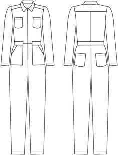 Intrepid Boiler Suit Alice & Co Patterns Suit Drawing, Flat Felled Seam, Flat Sketches, Fancy Tops, Boiler Suit, Jumpsuit Pattern, Jacket Pattern, Suit Vest, Technical Drawing