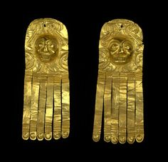 Ear ornaments Gold 500 b.C. - 300 A.D. Tumaco, South America.