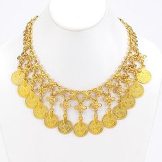GoldTurkish collection, 24k gold plated. Large drop coin statement necklace. Christian Livingston