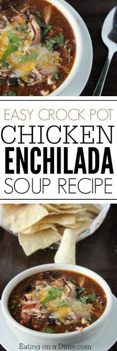 Need an easy crockpot dinner idea? You will love this Easy Chicken Enchilada Soup Recipe. Just dump it all in and let the crock pot do the work!