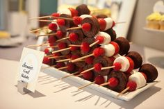 Brownie Fruit Kabobs - what an awesome (and easy!) idea