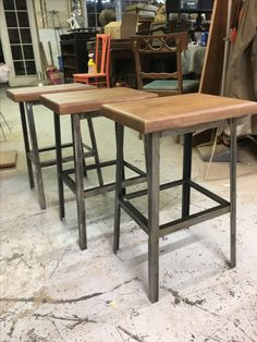 Style Bar Stools With Steel Angle Legs Built By Refined David In Orlando Fl