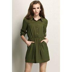 Army Green Sexy Lapel Half Sleeve Dress