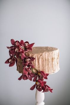 Marsala Wedding Cake Inspiration 02 Love the taupe color with the dark orchid. I think dalias would be pretty in the same color as orchid