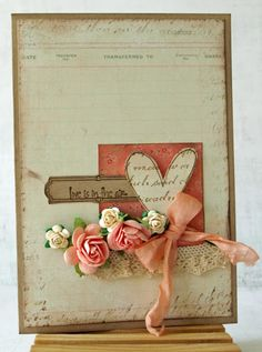 Shabby & Sweet Heart Card...with peach ribbon & roses.