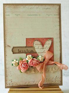 Shabby & Sweet Heart Card...with peach ribbon & roses.