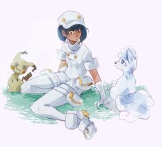 Mimikyu and Alolan Vulpix with Aether Foundation employee