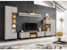 Nowoczesna witryna do salonu to zupełnie nowe oblicze mebli do salonu. Kiedyś witryny służyły do przechowywania, dziś są przede wszystkim ozdobą naszych wnętrz, chociaż nadal służą nam w sposób tradycyjny. Living Room Sets, Living Room Furniture, Shelving, Cabinet, Design, Home Decor, Products, Glass Display Case, Oak Tree