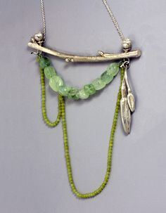 Sarah Hood  Landscape Composition #1  Necklace in sterling silver, prehnite, and jade.
