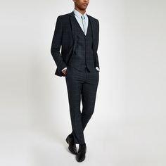 Shop our new Navy check skinny suit jacket at River Island today. Checked Suit, Checked Trousers, Three Piece Suit, 3 Piece Suits, Navy Check Suit, New Mens Suits, Skinny Suits, Trouser Suits, Style Guides