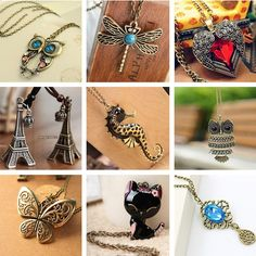 18 Vintage Necklaces - Owl,Feather,Heart,Butterfly,Kitten,Paris,Dragonfly...  FREE+SHIPPING  ONLY !!