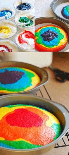 Rainbow cake can be done as cupcakes too!