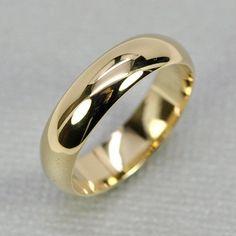 14K Yellow Gold Mens Wedding Band Half Round by seababejewelry, $423.00 #GoldWeddingRingsForMen