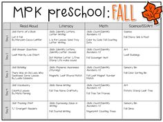 Tons of fall themed activities and ideas. Weekly plan includes books literacy math science art sensory bins and more! Perfect for fall in tot school preschool or kindergarten. Pre K Curriculum, Preschool Curriculum, Preschool Classroom, Preschool Learning, Teaching Art, Homeschooling, Teaching Tools, Teaching Ideas, Songs