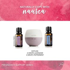 Pregnancy Support Series: Nausea. Diffuse this blend of Lavender and Peppermint…
