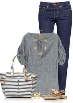 gray shirt; jeans pants; stripped blouse