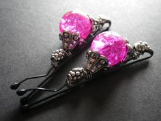 Exotic Hot Pink and Silver Summer Hair Accessories by CassieVision, $9.50. Make your own !!