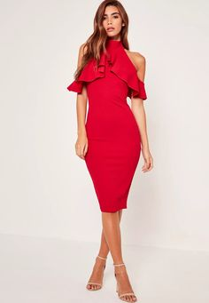 consider the little red dress a forever-favourite. install some high frills into your party game, featuring an on trend high neck, figure-flattering bodycon fit, and cold shoulder style.
