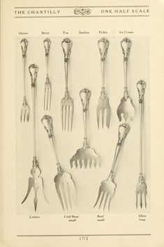 Chantilly by Gorham from the Gorham hand book : sterling silver spoons and forks. by Gorham Manufacturing Company  Publication date 1909 Topics Gorham, New York Publisher Silverware--Catalogs; Trade catalogs--Silverware Collection winterthurlibrary; americana Digitizing sponsor LYRASIS Members and Sloan Foundation Contributor Winterthur Museum Library Language English Bookplateleaf 0004 Call number NK7240 G66g TC Camera Canon 5D Identifier gorhamhandbookst00gorh Identifier-ark… Winterthur, Serving Utensils, Silver Spoons, Forks, Holiday Ideas, Sterling Silver, Bobby Pins, Travel Ideas