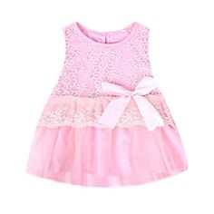 Fairy Season Cute Baby Girls Princess Party Tutu Lace Bowknot Flower Gown Dress Pink