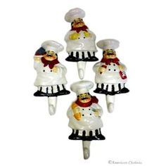 American Chateau Set 4 Fat Chefs French Chef Kitchen Wall Hooks Hangers Home Bistro Decor Bistro Kitchen Decor, Fat Chef Kitchen Decor, Apple Kitchen Decor, Rustic Kitchen Decor, Kitchen Themes, Home Decor Kitchen, Kitchen Ideas, Kitchen Rack, Decorating Kitchen