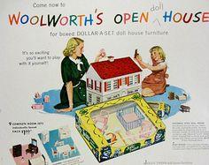 1948 Woolworths Doll House Furniture Vintage Advertisement Girls Bedroom Wall Art Childrens Decor Original Magazine Print Ad Paper Ephemera