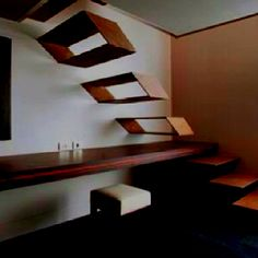 Such great design .. Fooling the eye , but probably as easy as any stair case to climb !!! Very cool