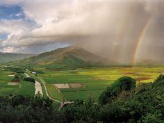 double rainbow, nature, the bridge, rainbows, family vacations, kauai hawaii, places, rivers, family vacation destinations