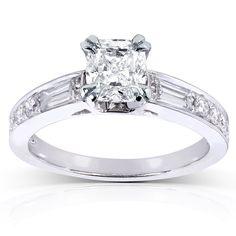 Annello by Kobelli 14k White Gold 1 1/2ct TDW Cushion Diamond Engagement Ring (H-I, I1-I2 (Size 7), Women's