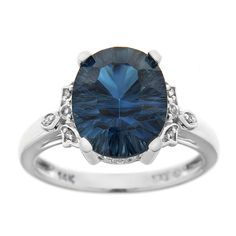 Blue and White Topaz Ring in 14K White Gold with Diamond Accents - Size 7 - Zales