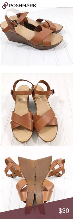 3234c310102 Mariella Sandals Wedge Leather brown tan scrappy Mariella Women s size 9.5  Sandals Wedge Leather brown tan