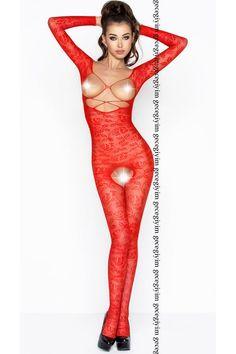 Göğüs Dekolteli Kırmızı Vücut Çorabı