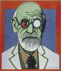 Illustration by John Alcorn  (1935-1992), 1973, Sigmund Freud.