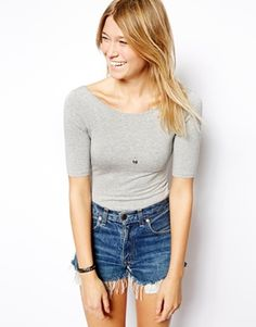 Image 1 of ASOS Body with Scoop Neck and Half Sleeve
