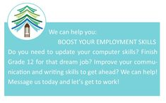 Talk to us about improving your employment opportunities - upgrading your literacy and your education will go a long way to improving your employment outcomes! Check out our website - change is possible🙂 #AALC #AlmaguinHighlands #LifeLongLearning Mature Student, Employment Opportunities, How To Gain Confidence, Conflict Resolution, Financial Literacy, Continuing Education, Learning Centers, Writing Skills, Dream Job