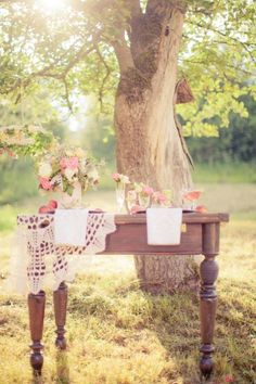 // Inspiration For A Vintage Chic Wedding!  Rent vintage tables and crochet items to re-create this hot look from Family Tree Vintage in Muskoka at www.tracyfowler.com
