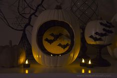 DIY Pumpkins with Hanging and Flying Bats Tutorial...great Halloween decor! | via Make It and Love It