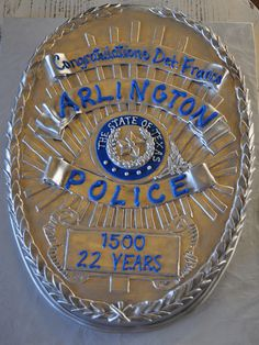 APD: Carved Police Badge Cake Sugar Bee Sweets Bakery www.sugarbeesweets.com Apd, Party Cakes, Badge, Police, Bakery, Sweets, Carving, Sugar, Shower Cakes