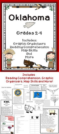 Oklahoma - Includes Reading Comprehension, Map Skills, and more! #tpt  #Oklahoma  #literacy
