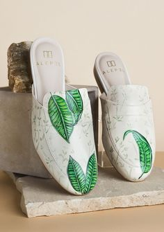 Browse Bamboo Leaves Mule and more from ALEPEL Shoes at Wolf & Badger - the leading destination for independent designer fashion, jewellery and homewares. Bamboo Leaves, Hand Painted Shoes, Slip On Mules, Painting Leather, Luxury Shoes, Leather Design, Leather Shoes, Shoe Boots, Footwear