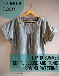Top 10 for Tuesday - summer top sewing patterns