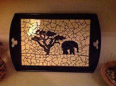 Mosaic tray elephant - Dienblad olifant
