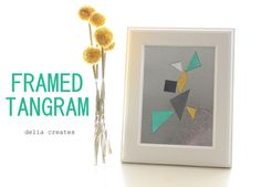 delia creates: Framed Tangram- ridiculously perfect for my frame wall, hanging it low enough for G to access Diy Sewing Projects, Cool Diy Projects, Craft Projects, Project Ideas, Diy For Kids, Crafts For Kids, Interactive Walls, Diy Frame, Diy Toys