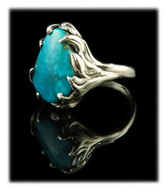 Lost Wax Tyrone Turquoise Ring