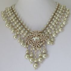 Vintage Miriam Haskell Glass Pearl Baroque Cluster Flower Dangle Bib Necklace #MiriamHaskell