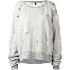 Unravel Project - destroyed effect sweatshirt - women - Cotton - XS (4.716.195 IDR) ❤ liked on Polyvore featuring tops, hoodies, sweatshirts, grey, grey top, cotton sweatshirts, gray sweatshirt, gray top and distressed top