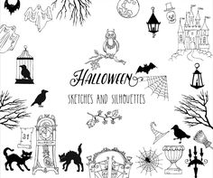 Halloween. Sketches and Silhouettes.Digital clip art with pumpkin, cat, ghost, hours, castle, moon, autumn by NataliaPiache on Etsy