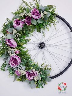 Bicycle Wheel Wreath Tutorial, Vintage Bicycle Wheel, Bike Rim Tutorial, Upcycled Wheel Wreath, DIY Bike Wheel Learn to Make this Vintage Bicycle Wheel Wreath with my tutorial including a complete supply list. Wreath Hanger, Diy Wreath, Door Wreaths, Yarn Wreaths, Tulle Wreath, Floral Wreaths, Burlap Wreaths, Wreath Ideas, Fleurs Diy