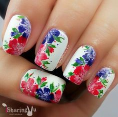 White floral nails